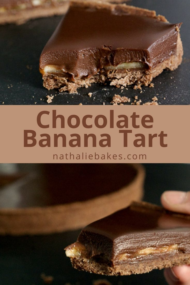 The classic combination of chocolate banana - this chocolate banana tart recipe is guaranteed to satisfy any chocolate craving! | nathaliebakes.com
