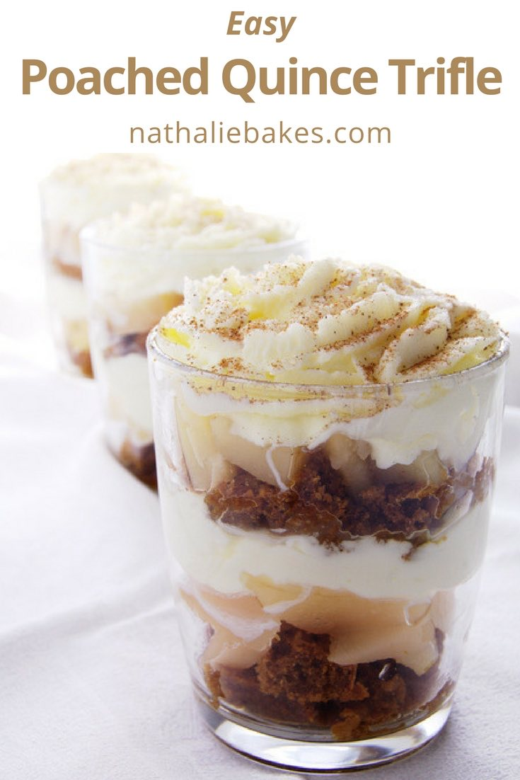 This poached quince trifle recipe is an easy and delicious make-ahead dessert. You can substitute quinces for apples or pears if not in season or available. | nathaliebakes.com