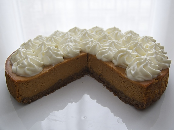 Pumpkin cheesecake open view