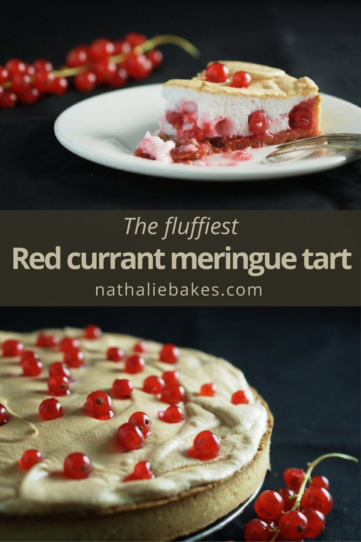 Red currant meringue tart. The light and airy pie is made up of a shortcrust pastry is topped with a sweet meringue and red currant that release all their juices as the tart bakes. Yummy.