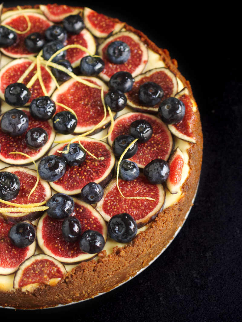 Classic cheesecake topped with seasonal fruit (figs, blueberries)