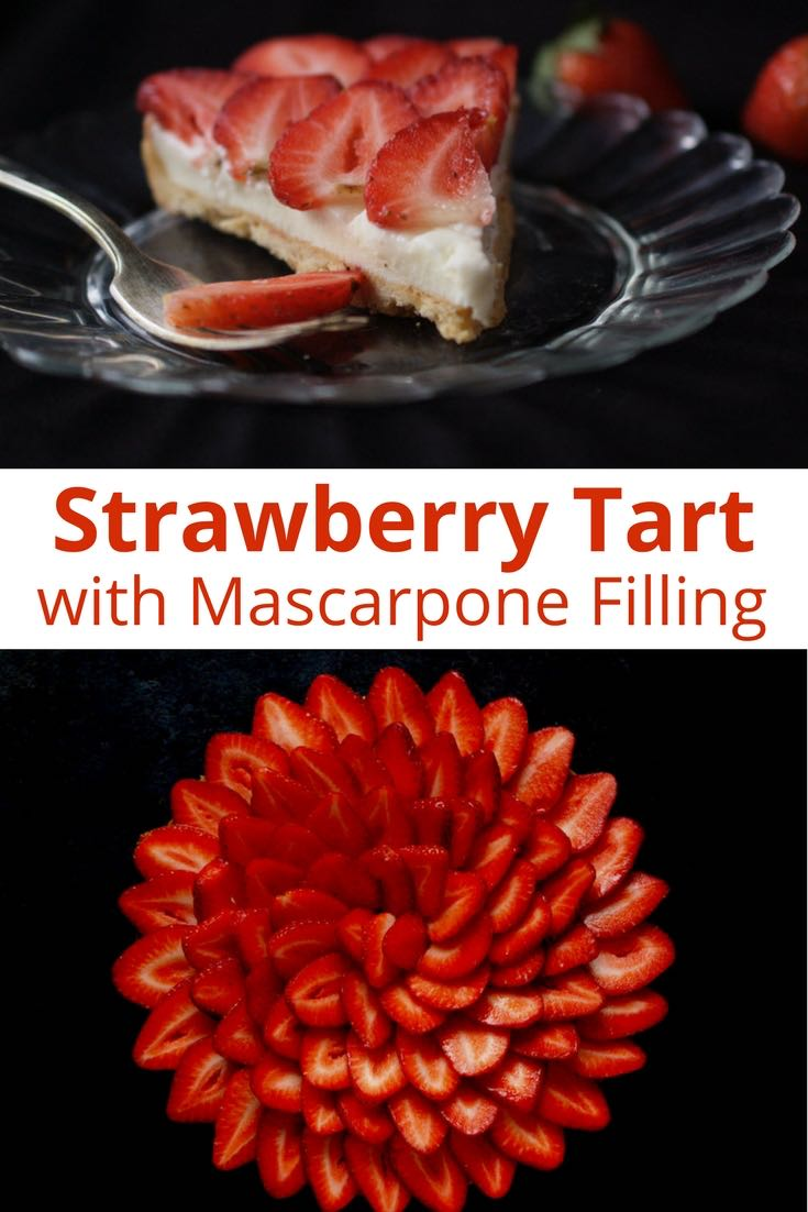 This delicious strawberry tart with a mascarpone cream filling is a lovely summer dessert that allows fresh strawberries to shine. | nathaliebakes.com