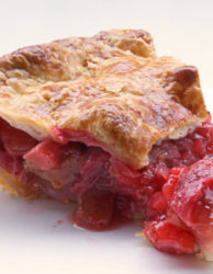 strawberry rhubab pie slice