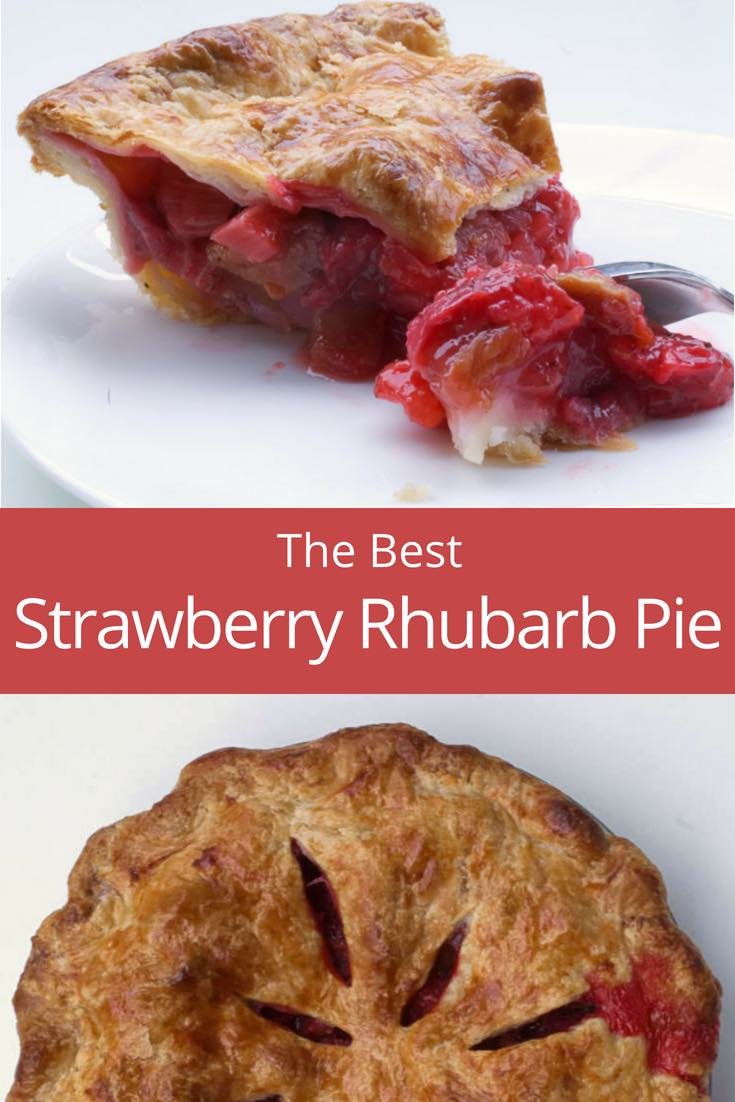 The best strawberry rhubarb pie! This double-crusted strawberry rhubarb pie is sweet, tart and totally delicious. A flaky crust garnished with fresh sweet strawberries, tart rhubarb, and lemon zest filling. The recipe includes tips & tricks, such as how to avoid a soggy bottom.