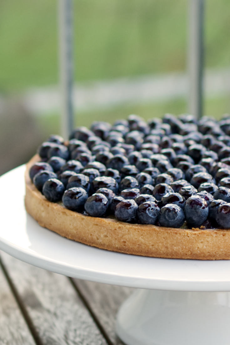 This blueberry tart is packed full of flavours and textures: the shortcrust pastry case is sprinkled with speculoos (or graham crackers) breadcrumbs and topped with blueberries two-ways: a delicious cooked blueberry filling and a fresh blueberry topping for extra zing. A perfect summer dessert #bluberry #summertarts #summerpies