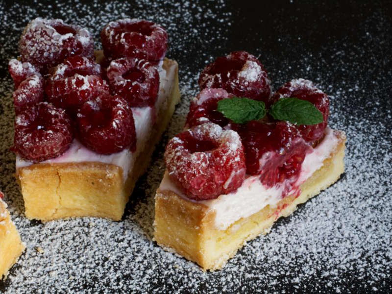 slice of raspberry tart